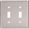 Cooper Wiring Devices 2-Gang Stainless Standard Toggle Stainless Steel Wall Plate