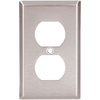 Cooper Wiring Devices 1-Gang Stainless Steel Standard Duplex ReceptacleWall Plate