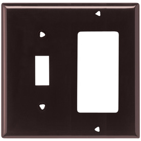 Cooper Wiring Devices 2-Gang Brown Combination Nylon Wall Plate
