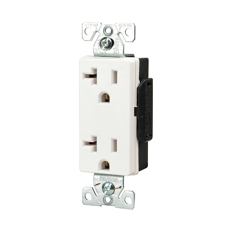 shop cooper wiring devices 20 amp white decorator duplex. Black Bedroom Furniture Sets. Home Design Ideas