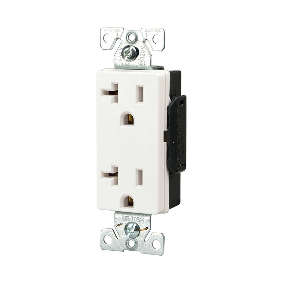shop cooper wiring devices 20 amp white decorator duplex electrical outlet at. Black Bedroom Furniture Sets. Home Design Ideas