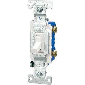 Eaton 1-Switch 15-Amp Single Pole White Indoor Toggle Light Switch