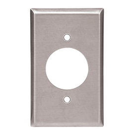 Cooper Wiring Devices 1-Gang Stainless Standard Single Receptacle Stainless Steel Wall Plate