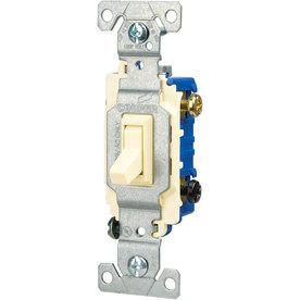 Eaton 1-Switch 15-Amp 3-Way Single Pole Almond Indoor Toggle Light Switch