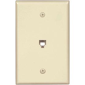 Eaton 1-Gang Almond Phone Plastic Wall Plate