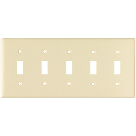 Cooper Wiring Devices 5-Gang Almond Toggle Wall Plate