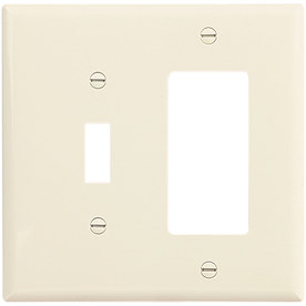 Cooper Wiring Devices 2-Gang Light Almond Combination Polycarbonate Wall Plate