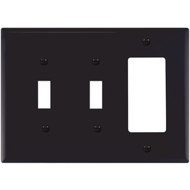 Cooper Wiring Devices 3-Gang Black Combination Nylon Wall Plate
