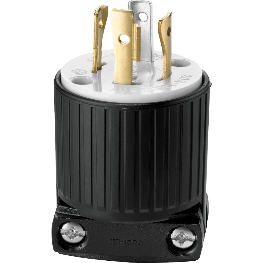 Receptacle Wiring 220 Volt 4 Wire: Cooper Wiring Devices 20-Amp 250-Volt Black 4-Wire Plug