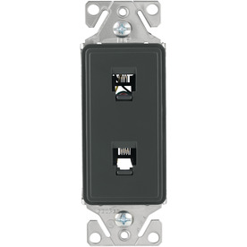 Cooper Wiring Devices Aspire 1-Gang Silver Granite Phone Nylon Wall Plate