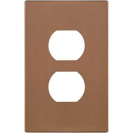Eaton 1-Gang Brushed Bronze Single Duplex Wall Plate