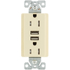 Cooper Wiring Devices 15-Amp 125-Volt Almond Indoor Decorator Wall Outlet/USB