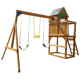 Swing-N-Slide Woodland Clubhouse Ready-to-Assemble without Slide Wood Playset with Swings