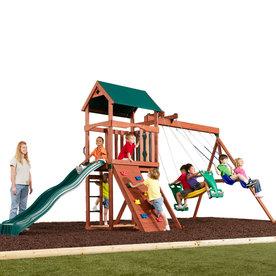 Swing-N-Slide Glenwood Adventure Wood Complete Ready-to-Assemble Kit Residential Wood Playset with Swings