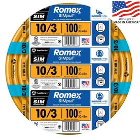 Southwire Romex SIMpull 100-ft 10-3 Non-Metallic Wire (By-the-Roll)
