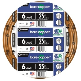 25-ft 6-Gauge Solid Soft Drawn Copper Bare Wire (By-the-Roll)