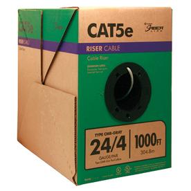 1,000-ft 24 (AWG)/4 CAT 5E Riser Gray Data Cable Pull Box