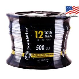 Southwire 500-ft 12-AWG Solid White Copper THHN Wire (By-the-Roll)