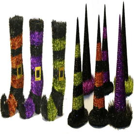 11-in Tabletop Tinsel Hat and Boot Indoor Halloween Decoration