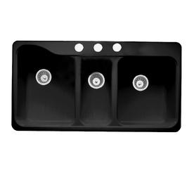 Shop American Standard Black 3 Hole Triple Basin Porcelain Kitchen Sink At