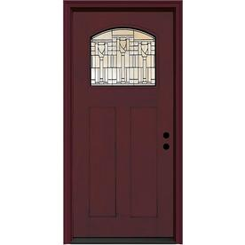 JELD-WEN Aurora 2-Panel Insulating Core Craftsman 1-Lite Left-Hand Inswing Sequoia Fiberglass Stained Prehung Entry Door (Common: 36-in x 80-in; Actual: 37.5-in x 81.75-in)