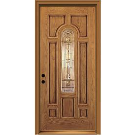 JELD-WEN 36-in Center Arch Lite Decorative Honey Inswing Entry Door