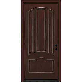 JELD-WEN Aurora 4-Panel Insulating Core Left-Hand Inswing Sequoia Fiberglass Stained Prehung Entry Door (Common: 36-in x 80-in; Actual: 37.5-in x 81.75-in)
