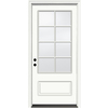 JELD-WEN Aurora 1-Panel Insulating Core 3/4 Lite Right-Hand Inswing Ivory Fiberglass Painted Prehung Entry Door (Common: 36-in x 80-in; Actual: 37.5-in x 81.75-in)