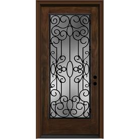 JELD-WEN 36-in Wrought Iron Clear Caramel Inswing Entry Door