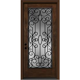 JELD-WEN Aurora 1-Panel Insulating Core Full Lite Right-Hand Inswing Caramel Fiberglass Stained Prehung Entry Door (Common: 36-in x 80-in; Actual: 37.5-in x 81.75-in)