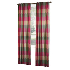 allen + roth Emilia 84-in L Checked Raspberry Rod Pocket Window Curtain Panel