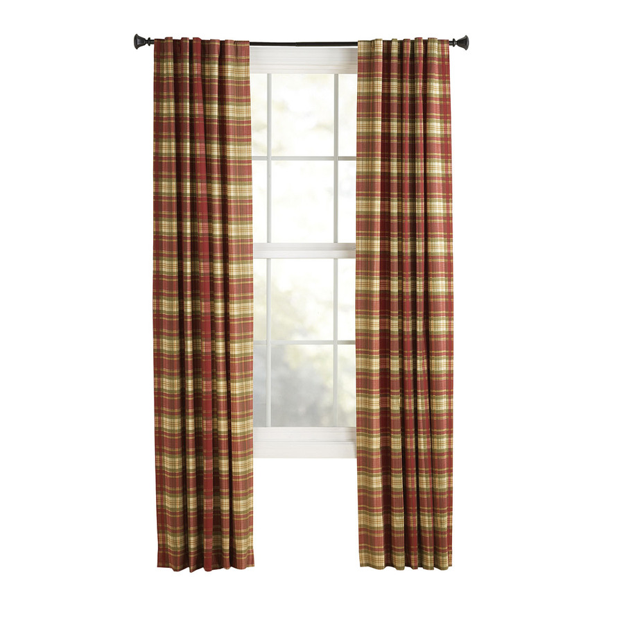 Shop Style Selections Bernard 84-in L Plaid Red Back Tab Curtain Panel ...