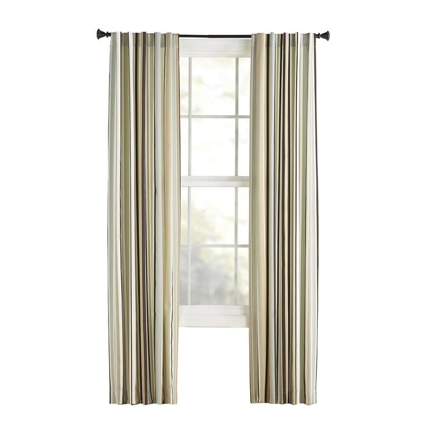 Shop Style Selections Bernard 63 In L Striped Green Back Tab Curtain Panel At