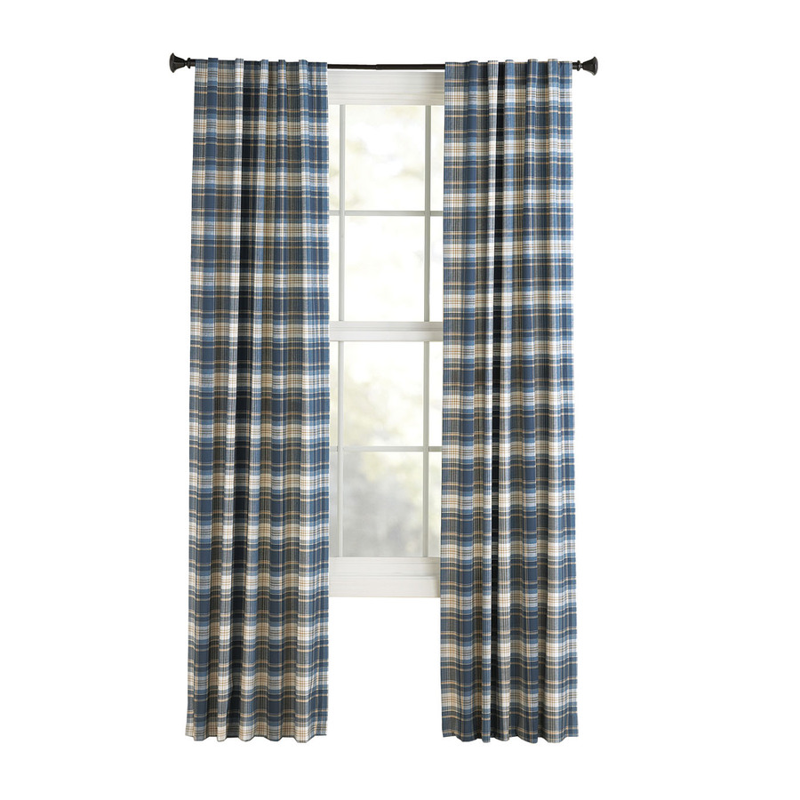 Shop Style Selections Bernard 84 In L Plaid Blue Back Tab Curtain Panel At