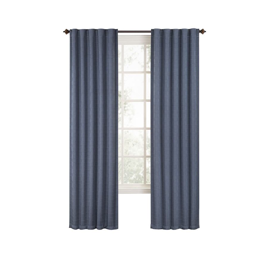 Shop style selections deleon 84 in l solid slate blue back tab curtain panel at - Epic window treatment decoration with slate blue curtain ...