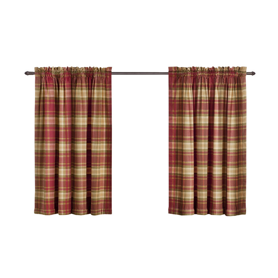 ... Bernard Plaid 36-in L Plaid Red Rod Pocket Curtain Panel at Lowes.com