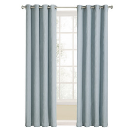 Shop allen roth aberleigh 84 in l light filtering solid slate blue grommet window curtain - Epic window treatment decoration with slate blue curtain ...