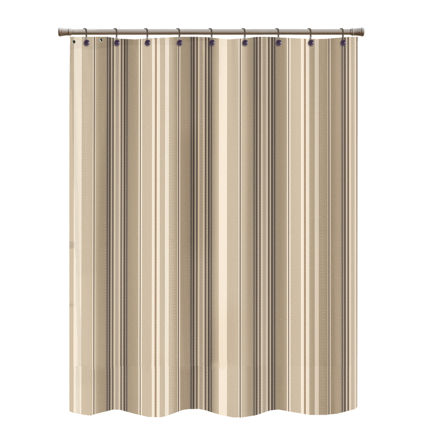 Shop Allen Roth Polyester Brown Striped Shower Curtain At