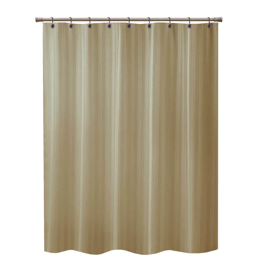 Shop Allen Roth Townsend Polyester Taupe Striped Shower Curtain At