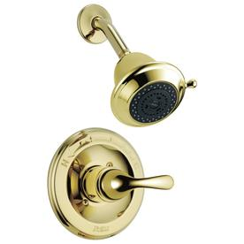 Delta Classic Polished Brass 1-Handle WaterSense Shower Faucet Trim Kit with Multi-Function Showerhead