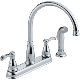 Peerless Chrome 2 Handle High Arc Kitchen Faucet With Side