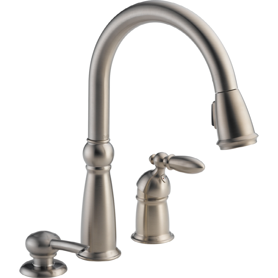 Shop delta victorian stainless 1 handle pull down kitchen - Lowes kitchen sink faucet ...