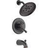 Delta Leland Venetian Bronze 1-Handle WaterSense Bathtub and Shower Faucet Trim Kit with Rain Showerhead