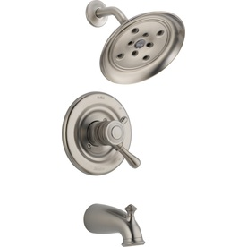 Delta Leland H2Okinetic Stainless 1-Handle Tub and Shower with Rain Showerhead