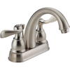 Delta Windemere Brushed Nickel 2-Handle 4-in Centerset WaterSense Bathroom Sink Faucet (Drain Included)