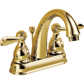 Delta Windemere Polished Brass 2-Handle 4-in Centerset WaterSense Bathroom Sink Faucet (Drain Included)