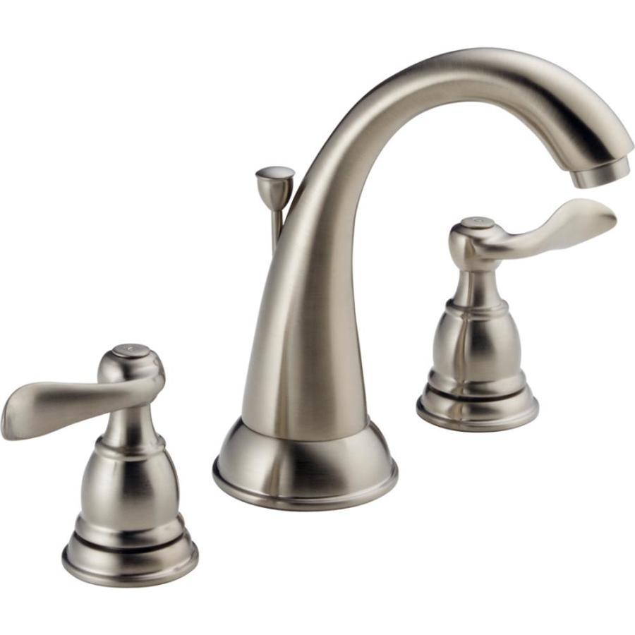 Brushed Nickel Faucet Bathroom : Brushed Nickel 2-Handle Widespread WaterSense Bathroom Sink Faucet ...