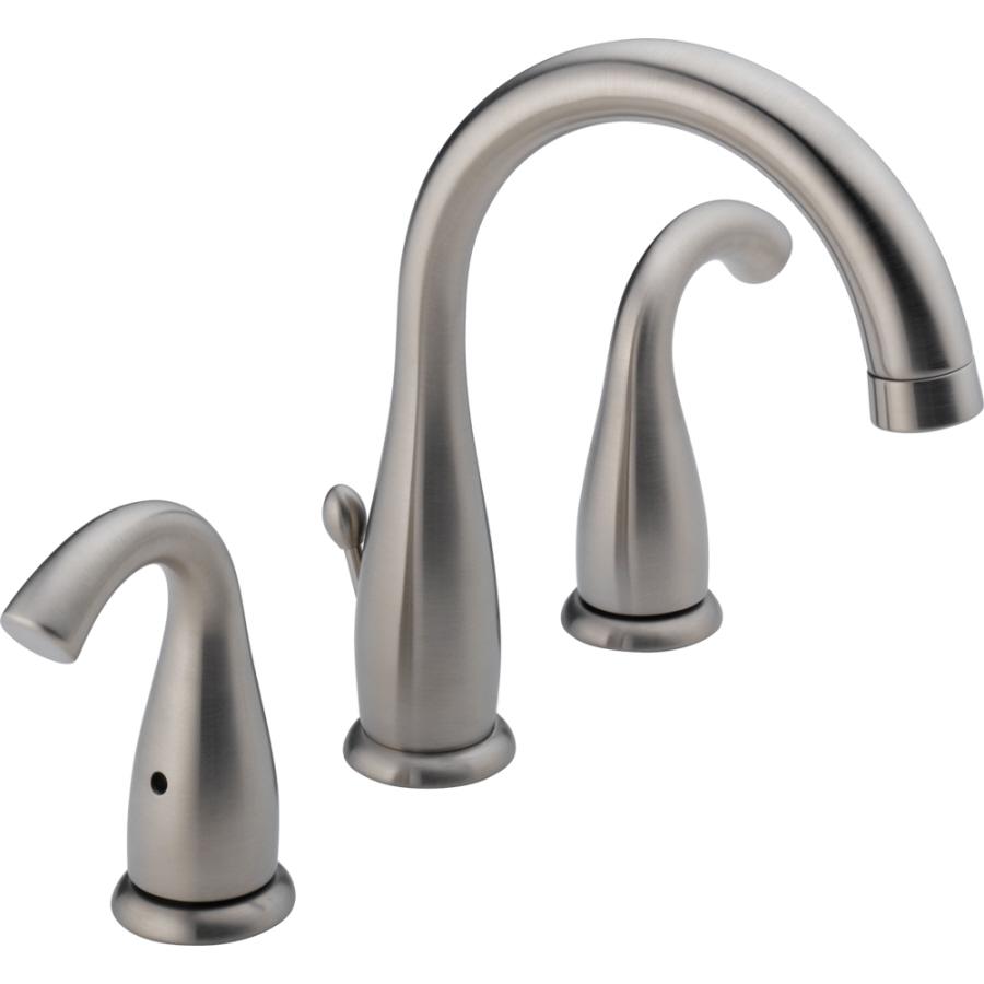 Shop Delta Brushed Nickel 2 Handle Widespread Watersense Labeled Bathroom Sink Faucet Drain