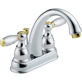 Delta Traditional Chrome/Brass 2-Handle 4-in Centerset WaterSense Bathroom Sink Faucet (Drain Included)