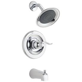 Delta Windemere Chrome 1-Handle WaterSense Bathtub and Shower Faucet Trim Kit with Single Function Showerhead